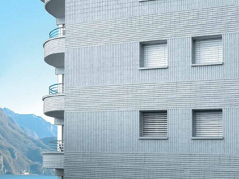 Lightweight concrete block partition BLOCCO ARCHITETTONICO SPLITTATO RIGATO - LecaSistemi