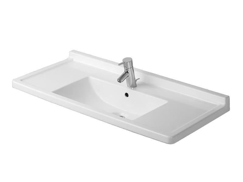 Rectangular ceramic washbasin STARCK 3 | Washbasin with integrated countertop - DURAVIT