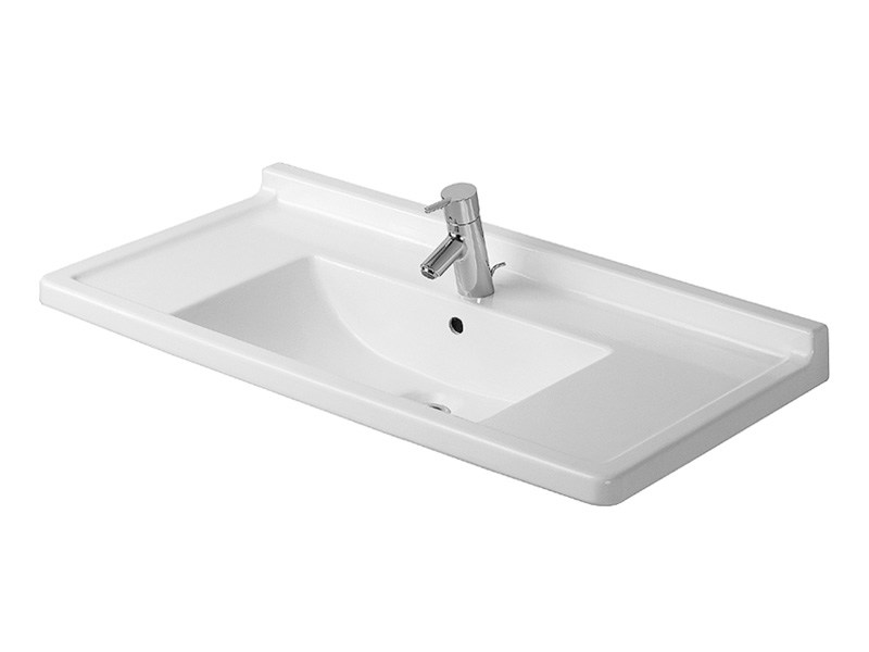 Rectangular ceramic washbasin STARCK 3 | Washbasin with integrated countertop - DURAVIT