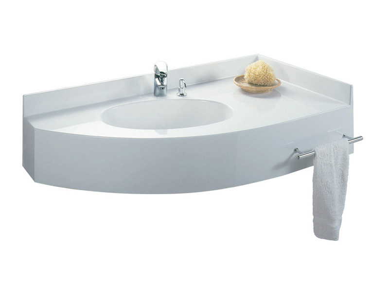 Corner Pietraluce® washbasin with integrated countertop ROMA - Technova