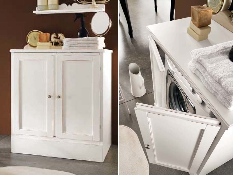 Laundry room cabinet for washing machine YORK | Laundry room cabinet - Cerasa