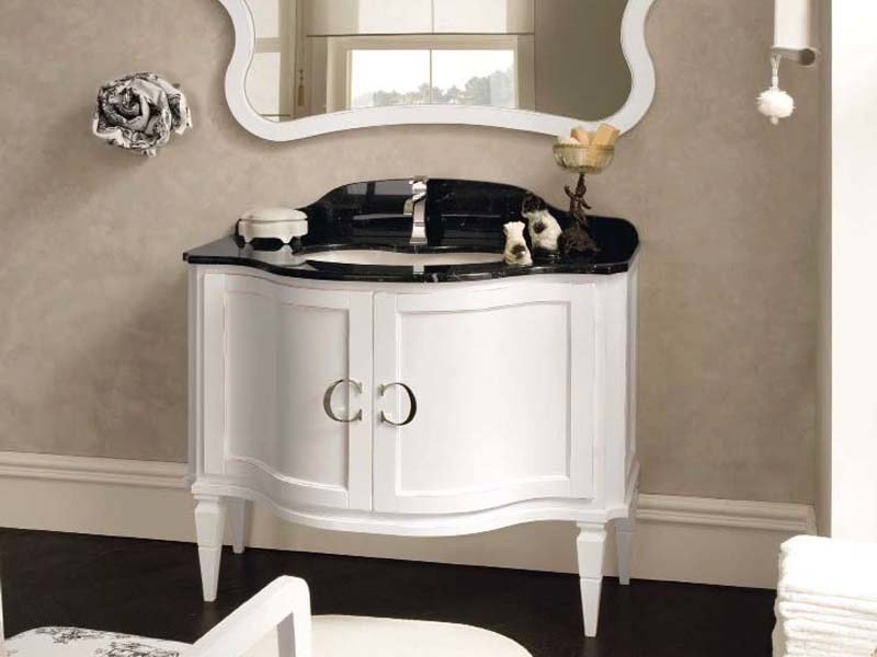Single wooden vanity unit with doors YORK 7 | Vanity unit - Cerasa