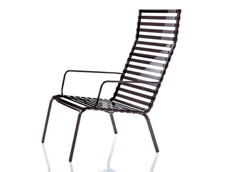 High-back vitrified enamelled steel armchair with armrests STRIPED | Armchair with armrests - Magis
