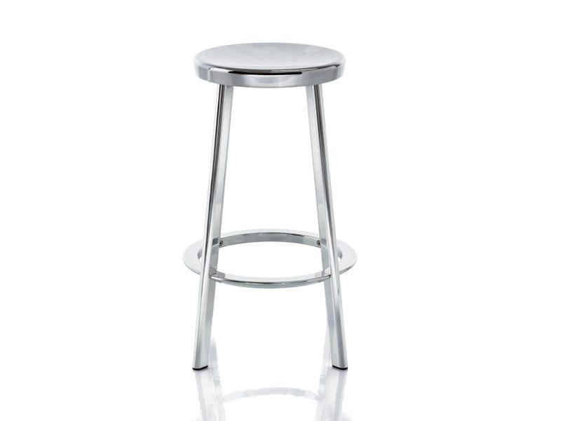 Aluminium stool with footrest DEJÀ-VU | Stool - Magis