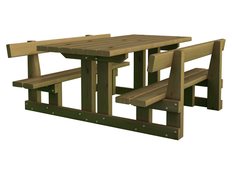 Table for public areas with integrated benches SPLUGA baby - INDUSTRIA LEGNAMI TIRANO