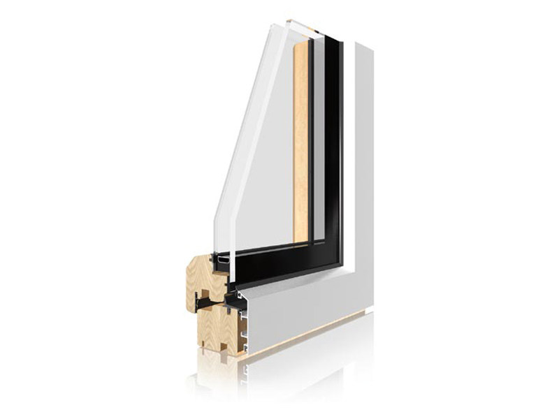 Finestra con doppio vetro in alluminio e legno uni one integrale sistema uni one - Finestre in legno con doppio vetro ...