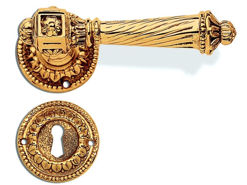 Empire style door handle on rose C11011 - ELISA | Brass door handle by Enrico Cassina