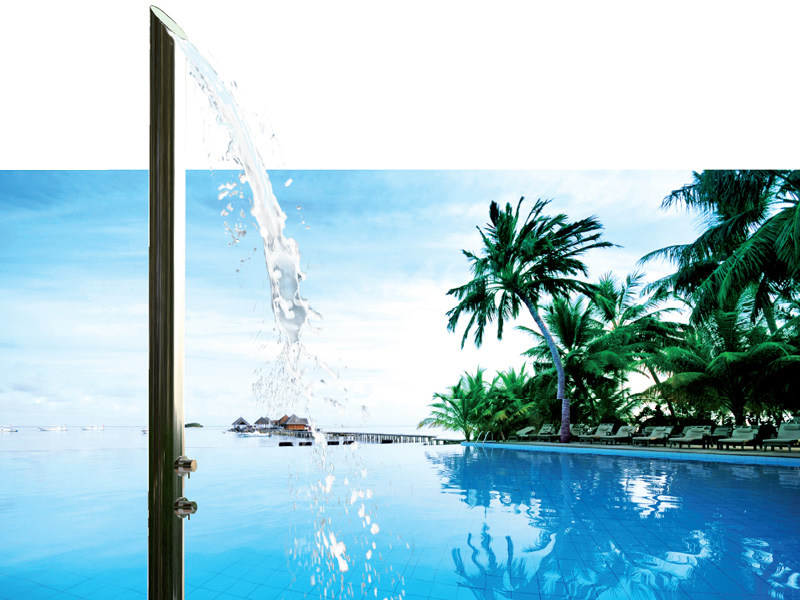 Stainless steel outdoor shower AQUABAMBÚ by Bossini