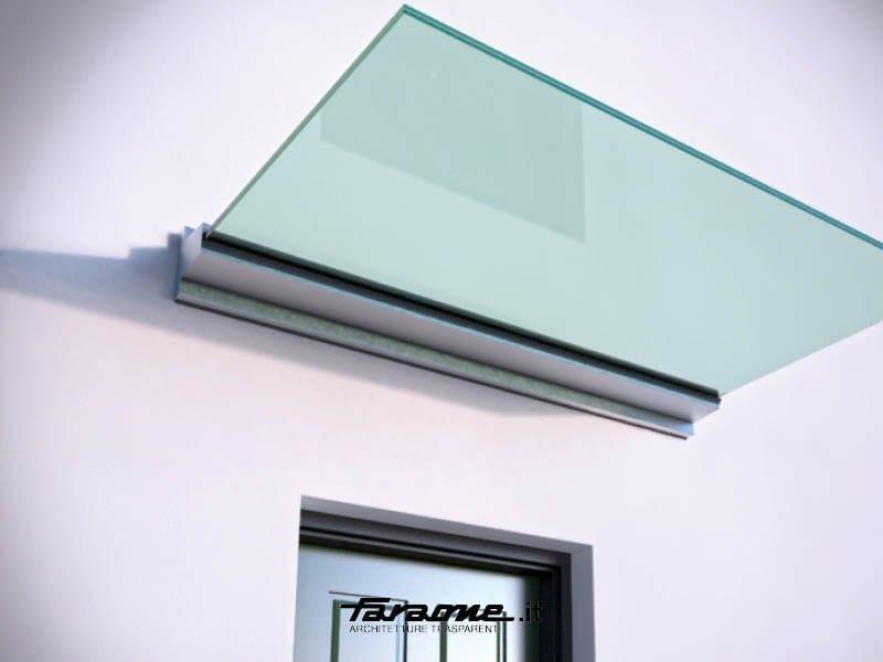 pensilina in alluminio e vetro con illuminazione linea. Black Bedroom Furniture Sets. Home Design Ideas