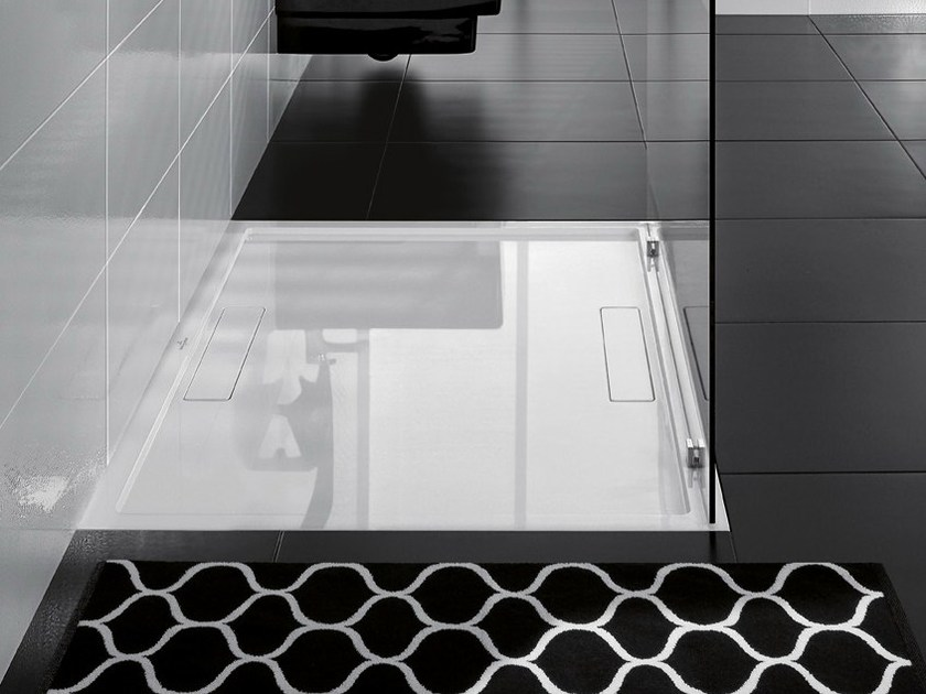 Flush fitting Quaryl® shower tray SQUARO SUPER FLAT by Villeroy & Boch