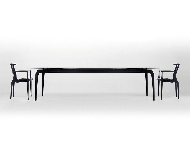 Wood and glass dining table GAULINO | Wood and glass table - BD Barcelona Design