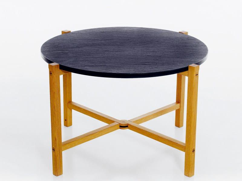 Tavolino basso pieghevole rotondo in ardesia
