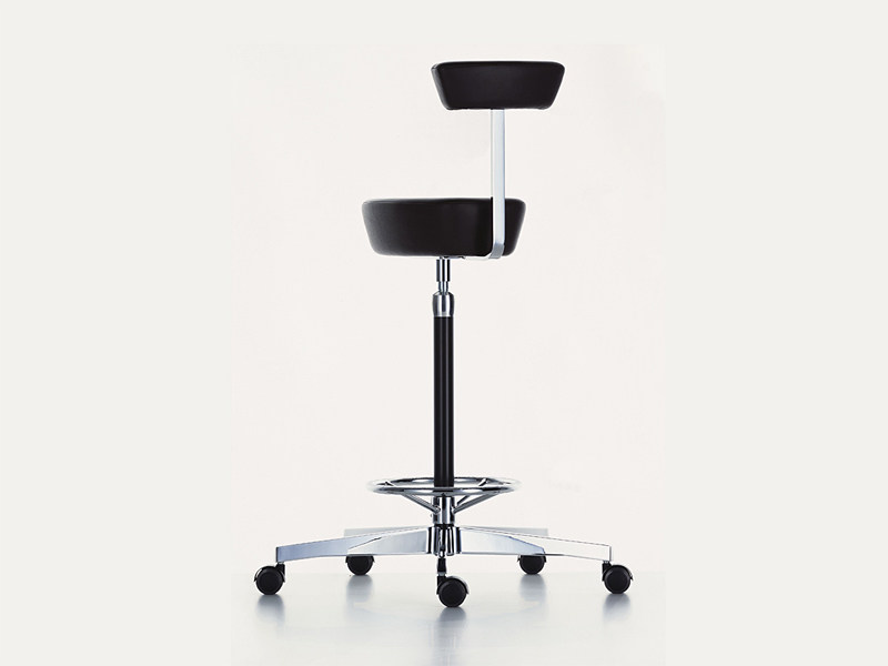 Leather stool with casters NELSON PERCH - Vitra