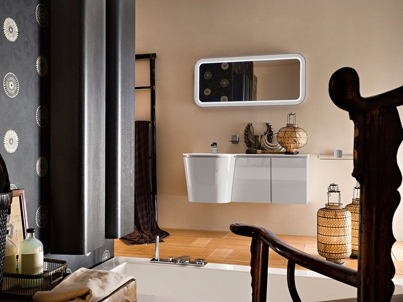 Lacquered single wall-mounted vanity unit SUEDE 76/77 by Cerasa