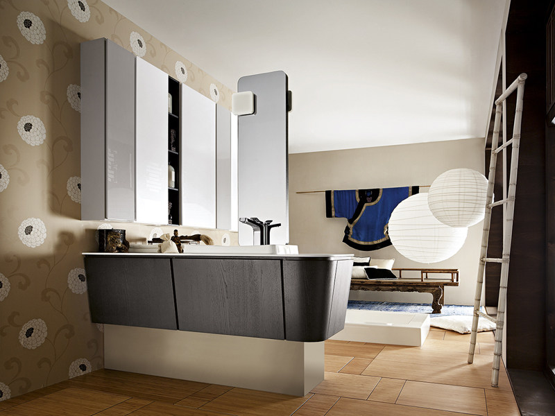 Single vanity unit with doors SUEDE 86/87 by Cerasa
