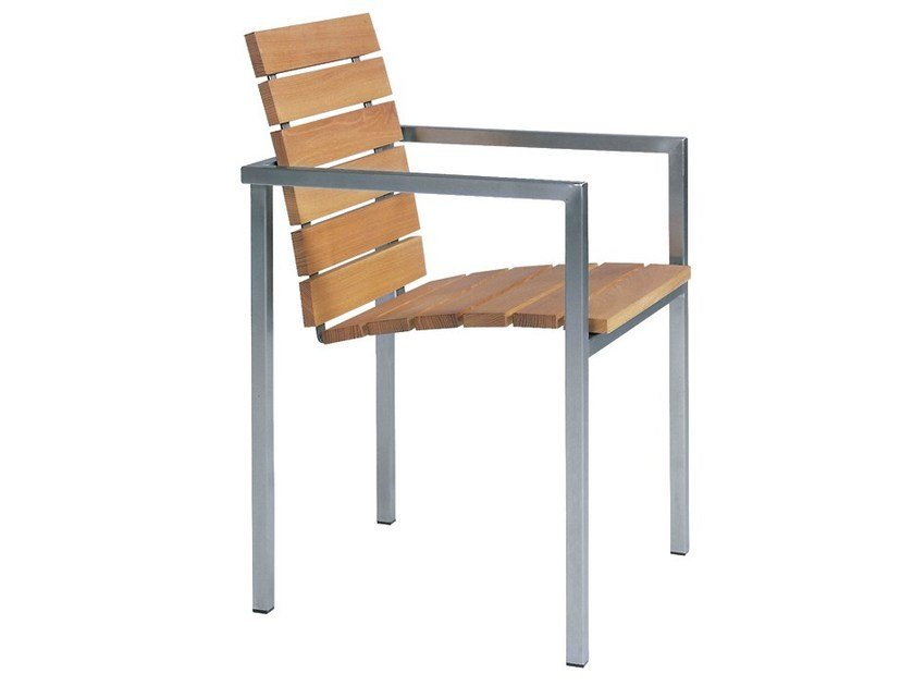 Stackable garden chair with armrests NATAL ALU TEAK | Chair - TRIBÙ