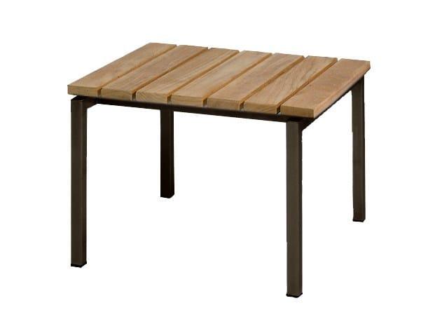 Square teak garden footstool NATAL ALU TEAK | Footstool - TRIBÙ