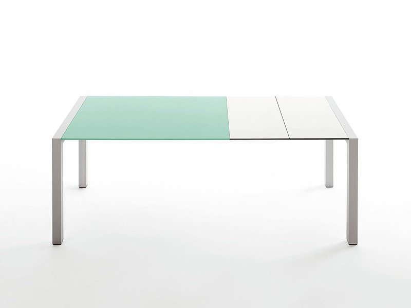 Extending glass and aluminium table