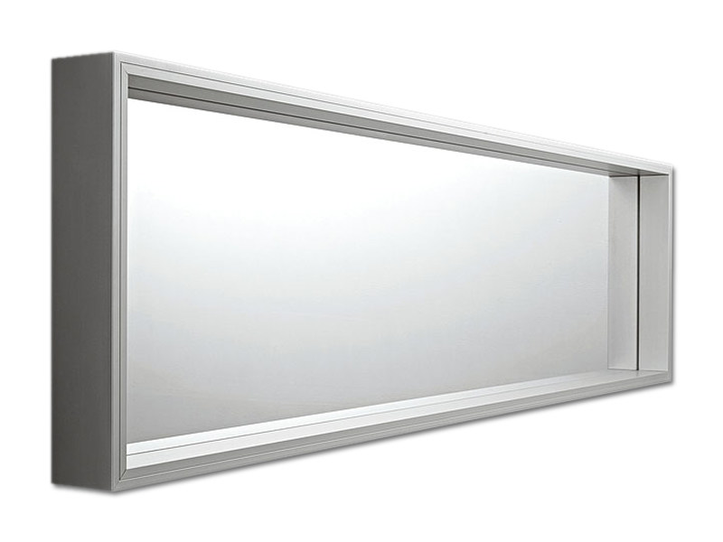 Wall-mounted framed rectangular mirror