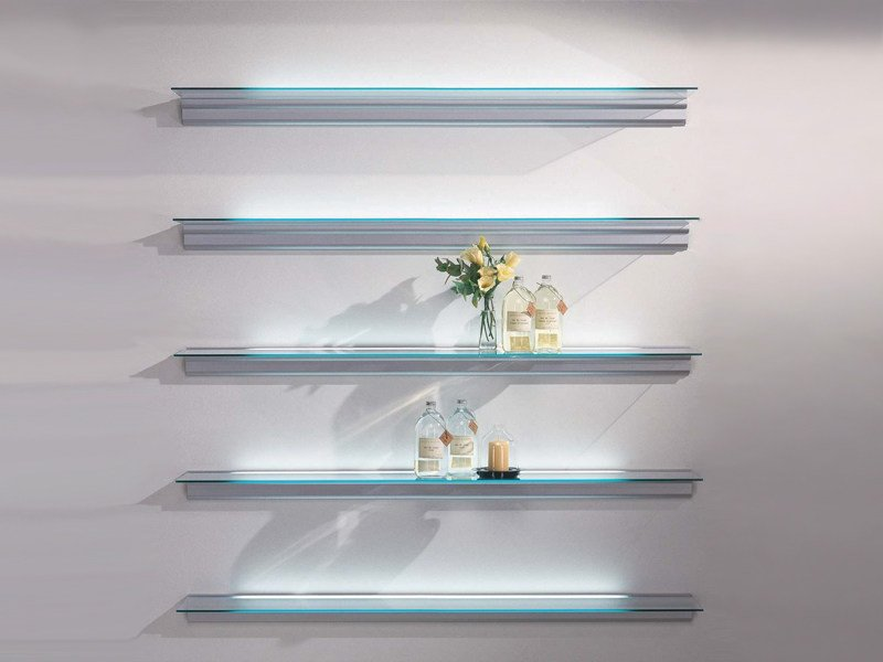 Wall-mounted shelving unit with built-in lights HIALINA by BD Barcelona Design