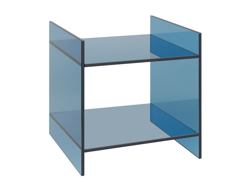 Square glass coffee table DREI by e15