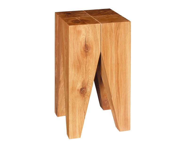 Solid wood stool / coffee table BACKENZAHN™ - e15
