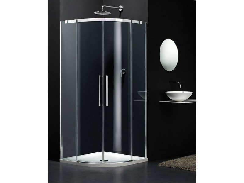 Semicircular glass shower cabin with sliding door S-LITE SR - Provex Industrie