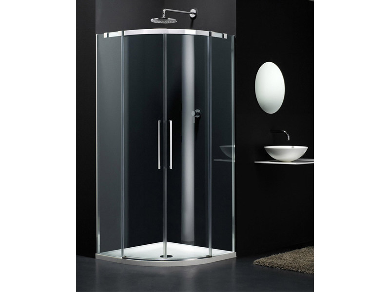 Semicircular glass shower cabin with sliding door S-LITE SR by Provex Industrie