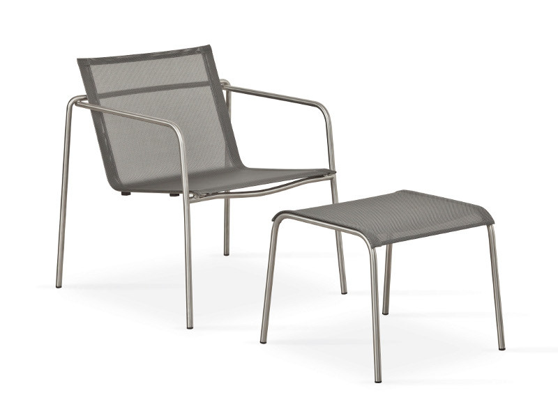 Stackable fabric garden armchair with armrests TAKU | Easy chair - FISCHER MÖBEL