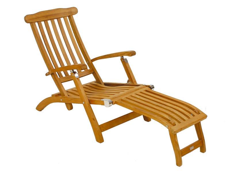 Teak deck chair with footrest FLORES | Deck chair by FISCHER MÖBEL