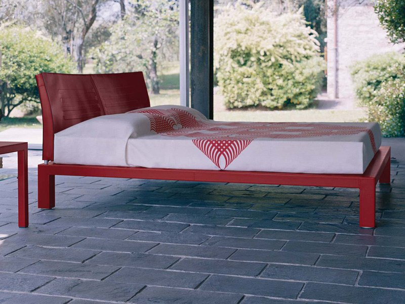 Tanned leather double bed ABACO | Bed - ENRICO PELLIZZONI