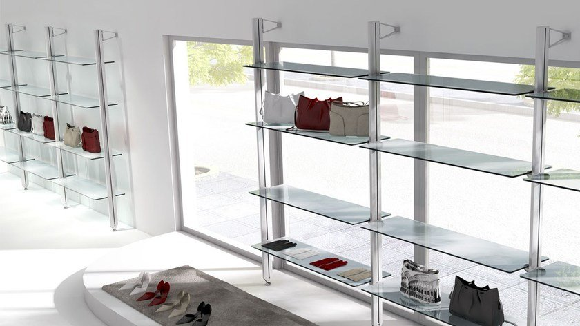 Scaffale in acciaio e vetro freely ibebi for Libreria acciaio e vetro