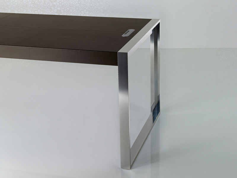 Rectangular tanned leather office desk STRATO | Office desk - ENRICO PELLIZZONI