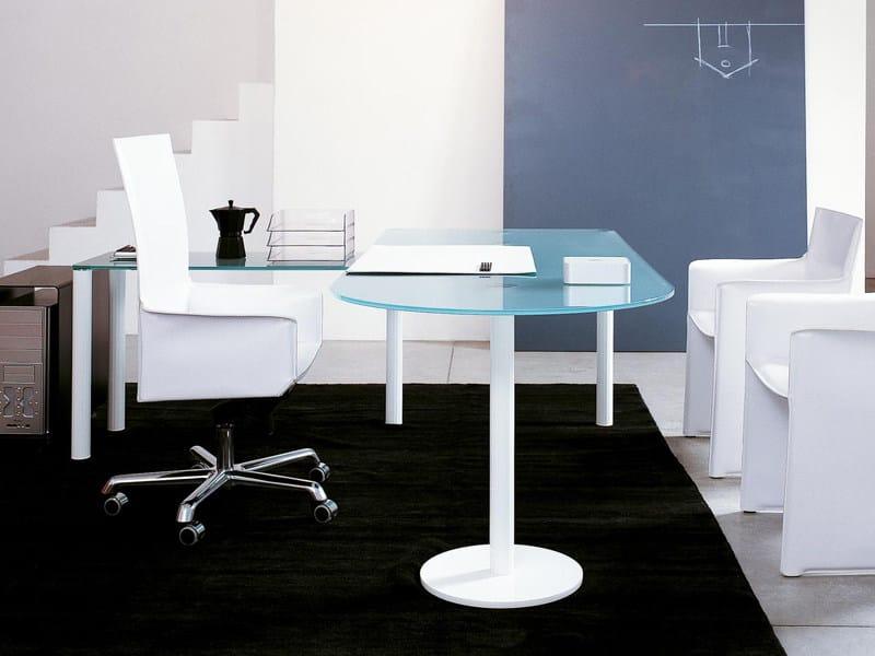 Oval glass office desk VALEO   Oval office desk - ENRICO PELLIZZONI