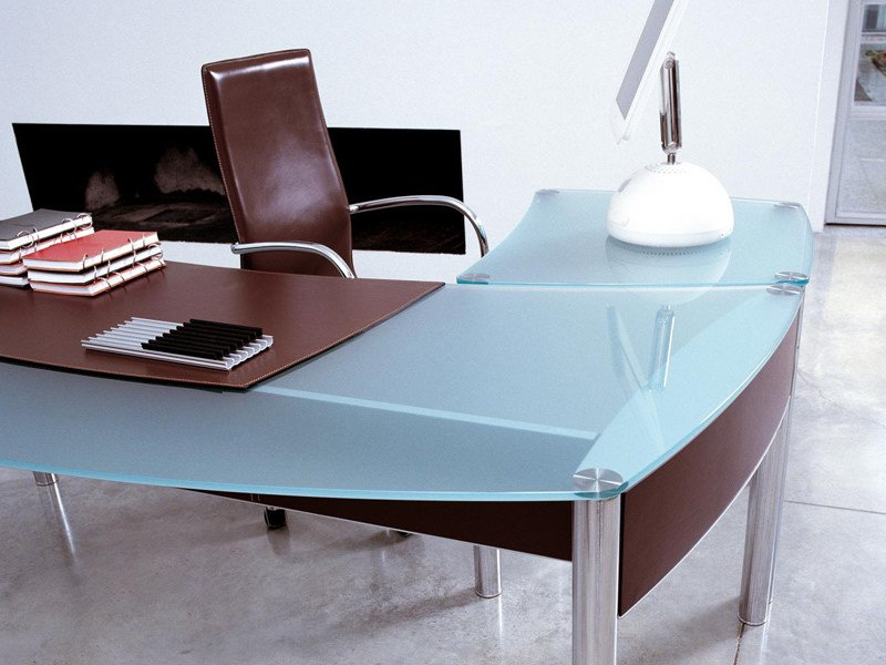 Glass office desk VALEO | Glass office desk - ENRICO PELLIZZONI