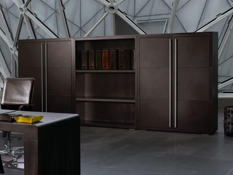 Modular tanned leather office storage unit NAZCA | Office storage unit - ENRICO PELLIZZONI
