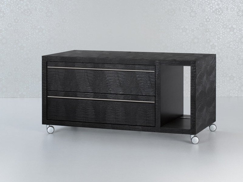 Tanned leather office drawer unit with casters NAZCA | Office drawer unit - ENRICO PELLIZZONI