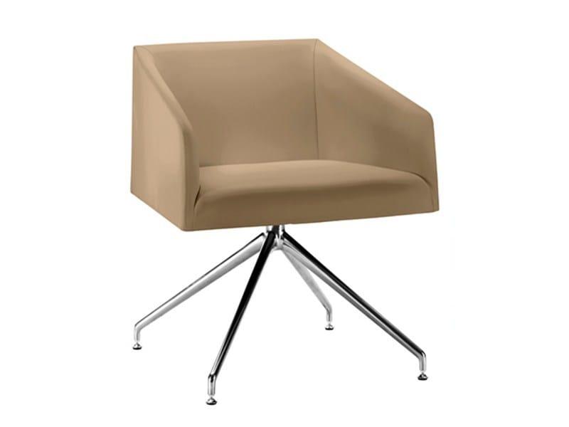 Swivel trestle-based easy chair SAARI TR | Swivel easy chair - Arper