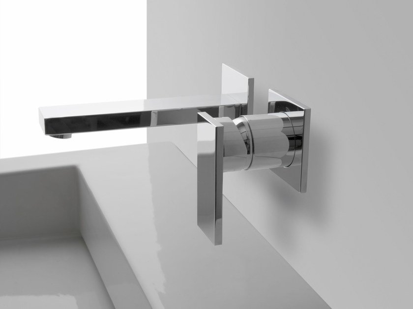 2 hole wall-mounted washbasin tap with plate SOLAR | Wall-mounted washbasin tap by Graff Europe West