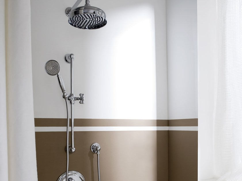 Shower wallbar with hand shower with mixer tap with overhead shower LAUREN | Shower wallbar - Graff Europe West
