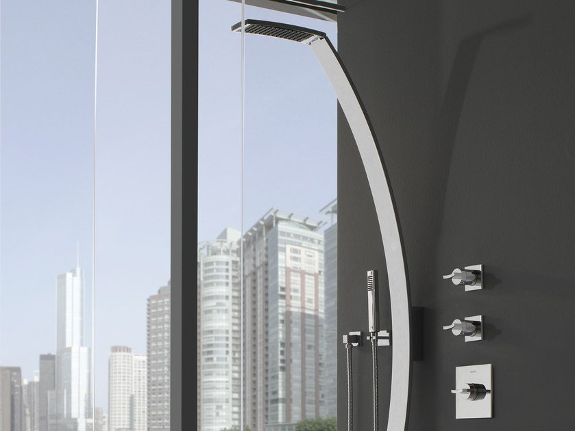Wall-mounted shower panel with overhead shower LUNA | Shower panel - Graff Europe West
