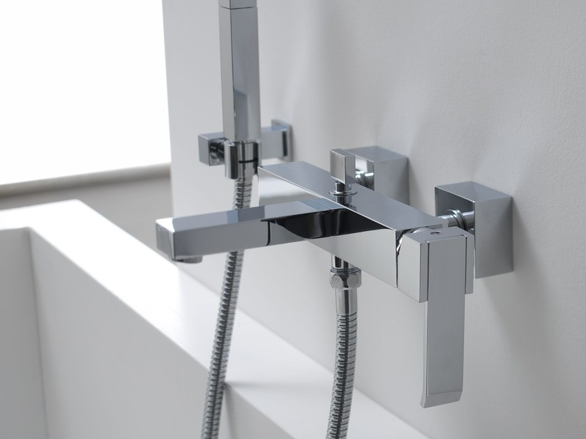 Wall-mounted bathtub set with hand shower QUBIC | Wall-mounted bathtub set - Graff Europe West