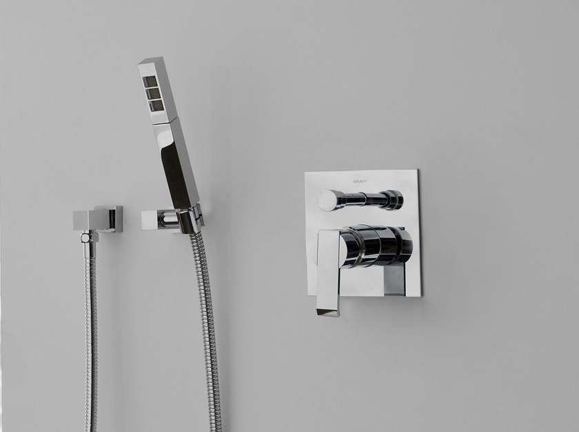 Wall-mounted handshower with hose for shower QUBIC | Wall-mounted handshower by Graff Europe West