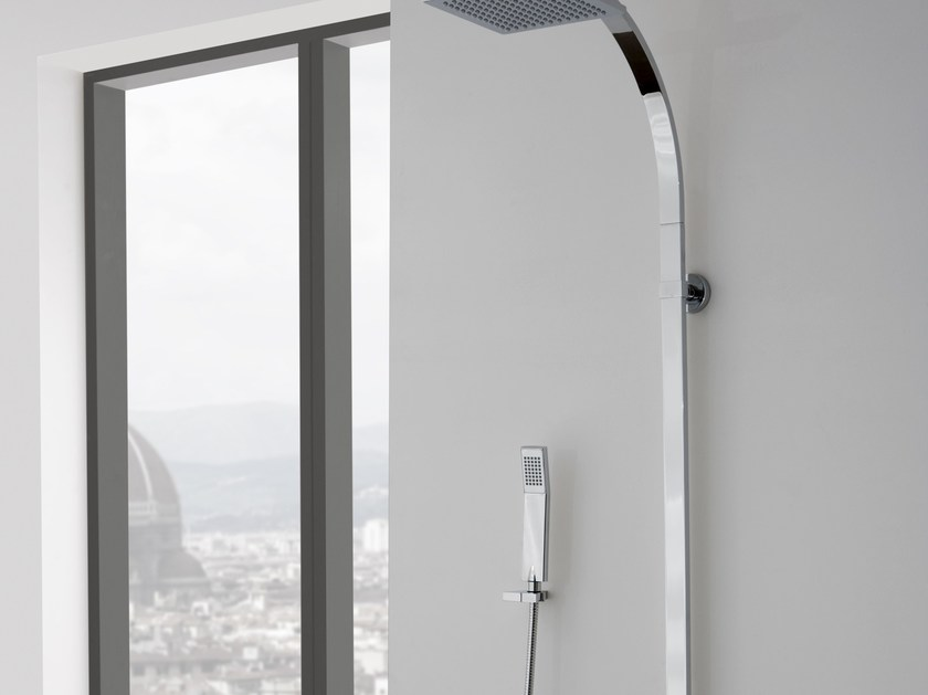 Shower panel with overhead shower QUBIC | Shower panel with overhead shower - Graff Europe West