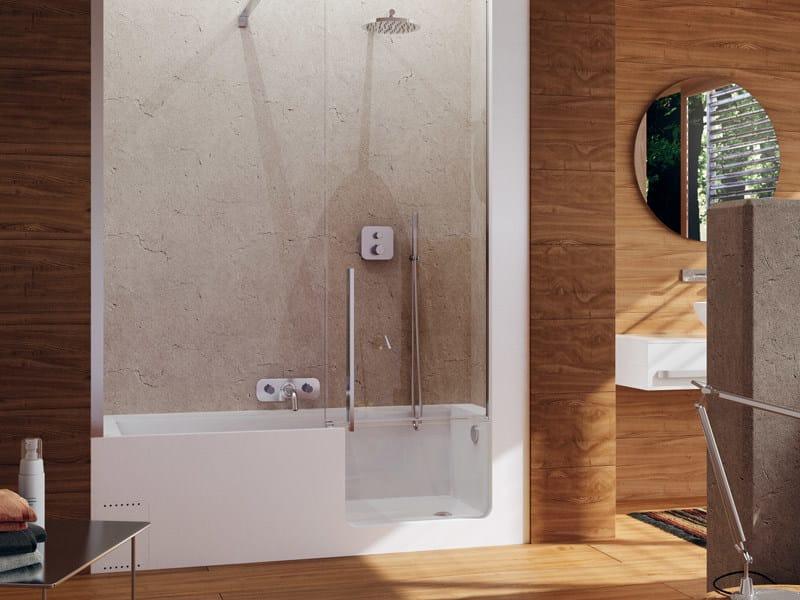 Vasca da bagno con doccia con porta elle door glass 1989 - Vasca bagno con doccia ...