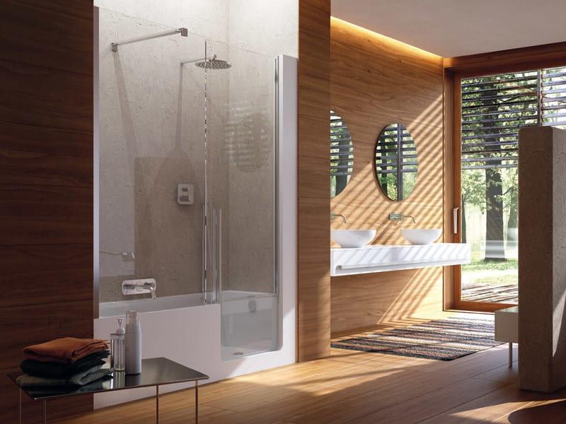 badewanne mit dusche mit tür elle door by glass 1989 design, Hause ideen