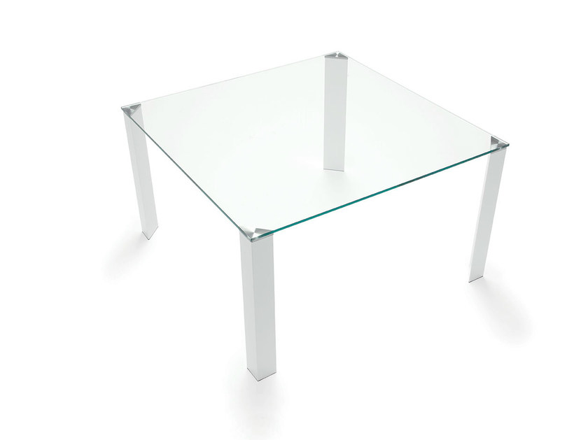 Square glass and steel table JEAN SQUARE by Sovet italia