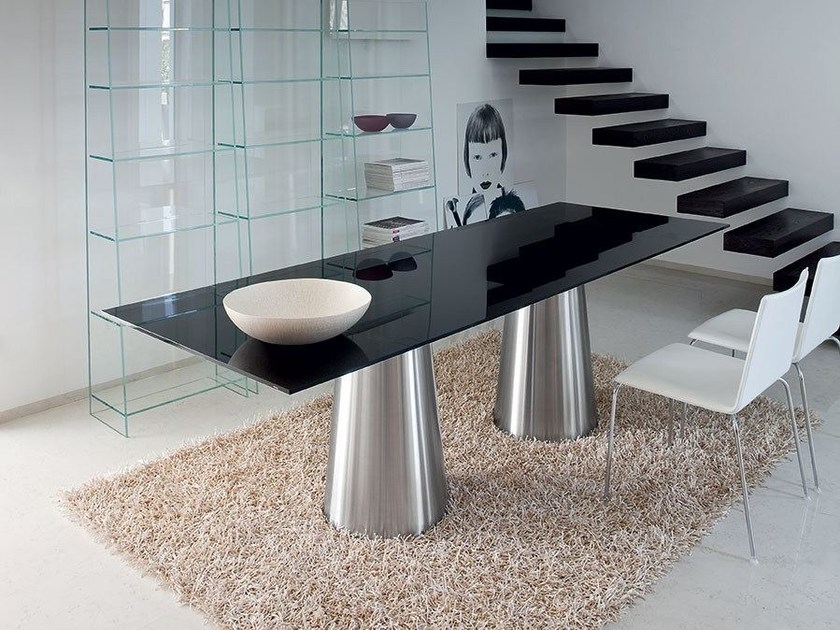 Rectangular crystal and stainless steel table TOTEM TWO BASES - SOVET ITALIA