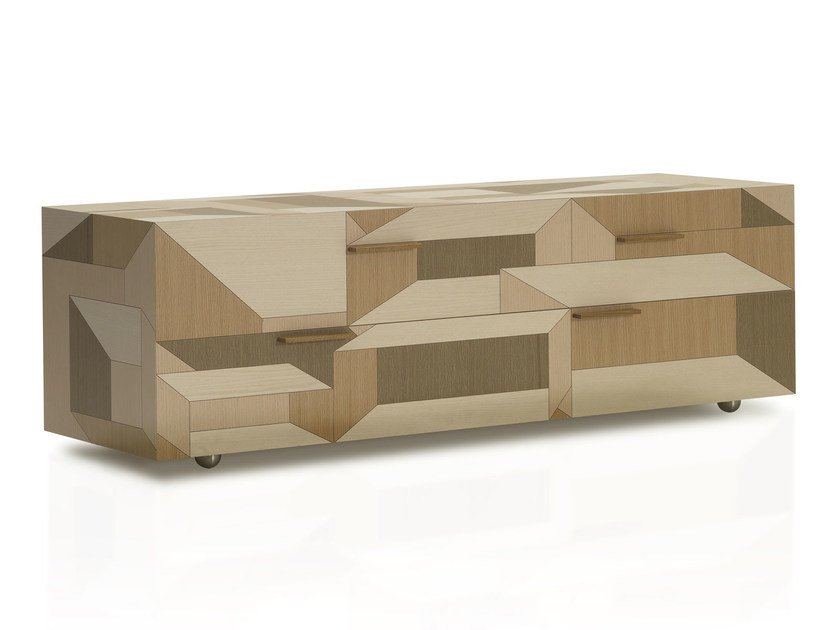 Wooden sideboard / chest of drawers INLAY by Porro