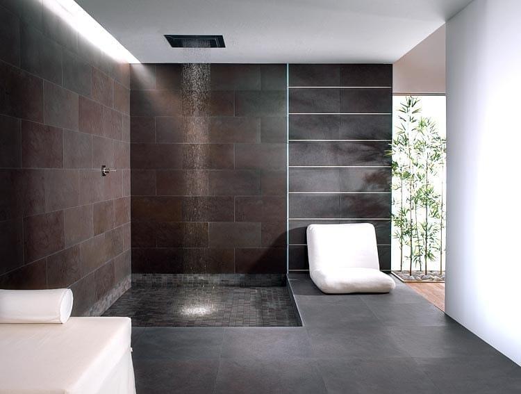 Parete Gialla E Grigia : Black Slate Porcelain Tile